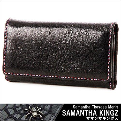 SAMANTHA KINGZ サマンサキングズ 4連 キーケース キーリング トリコロール ブラック レザー 黒 純正化粧箱 ショップバッグ 付
