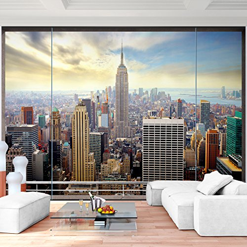 Vlies fototapete 352x250 cm 9026011a 39 fenster nach new for Bild fenster new york