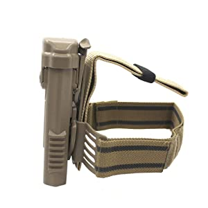 LIVIQILY Tactical Glock Leg Holster Right Hand Paddle Thigh Belt Drop Pistol Gun Holster w/Magazine Torch Pouch for 1911 Glock 17 19 22 23 31 32 (Tan-2) (Color: Tan-2)