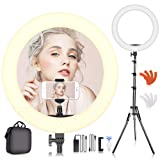 SAMTIAN 18-inch LED Ring Light Kit 55W 3200K/5500K Dimmable SMD YouTube Light Ring with 2M Light Stand, Cradle Head, Phone Holder for Video Shooting, YouTube Video, Portraiture, Makeup, Vlog (Color: ring light(single))