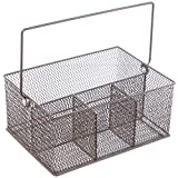 Hubert Wire Mesh 4-Compartment Utensil / Napkin Basket, Espresso Brown