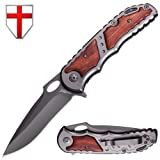Spring Assisted Knife - Folding Knife for Boy Scouts and Camping - EDC Tactical Pocket Knives with Wooden Handle & Metal pockey Clip - Best Hunting Pocket Knife - Grand Way 97010 (Color: Wood)