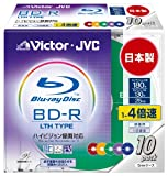 Victor 映像用ブルーレイディスク LTHタイプ 1回録画用 130分 25GB 4倍速 カラーディスク 10枚 BV-R130FX10