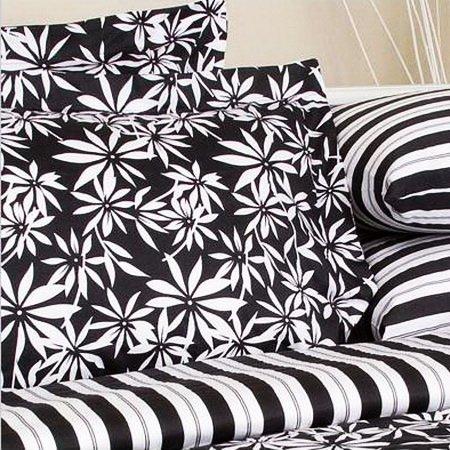 Tropical Print White Black Floral Bedding Duvet Cover Set King