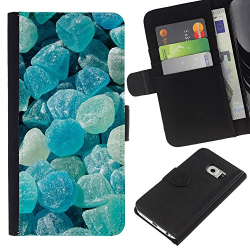 iBinBang / Flip Wallet Design Leather Case Cover - Crystal Meth Rocks Candy Blue Beach - Samsung Galaxy S6 EDGE SM-G925