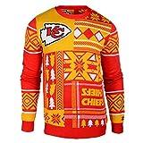 Kansas City Chiefs NFL 2015 Patches Ugly Crewneck Sweater (M)