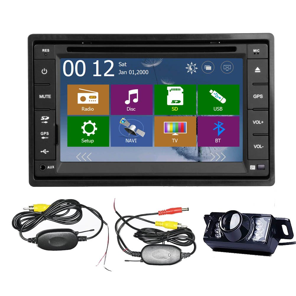 Wireless Rear Camera+2015 New Model 6.2-Inch Double-2 DIN In Dash Car DVD Player Touch screen LCD Monitor