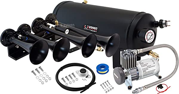 Vixen Horns Loud 149dB 4//Quad Black Trumpet Train Air Horn with 0.5 Gallon Tank and 150 PSI Compressor Full//Complete Onboard System//Kit VXO8805//4124B