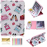 iPad Mini Case, Dteck(TM) Cartoon Cute Design PU Leather Flip Stand Case with [Cards Slot&Money Holder] Full Body Protective Smart Cover for Apple iPad Mini 3/2/1 (02 Perfume&High heels)