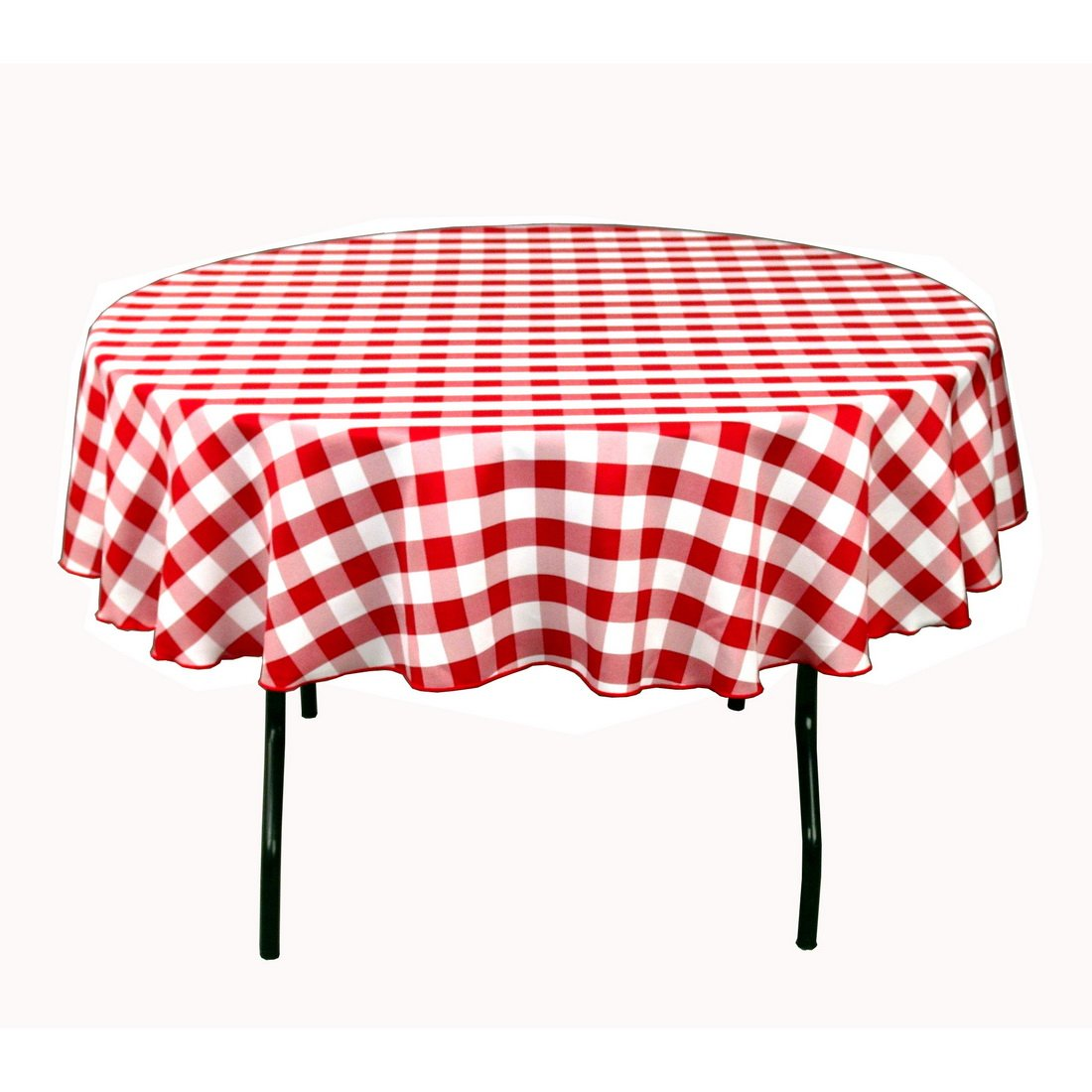70inch round polyester tablecloth red and white checker new free shipping - Polyester Tablecloths