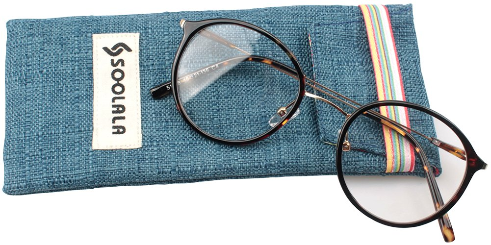 SOOLALA Unisex Vintage Inspired Round Circle Reading Glasses Customized Strengths 0