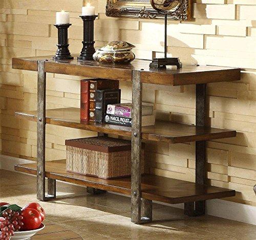 Riverside Furniture Riverside Sierra Sofa/Console Table, Oak, Mindi Veneer And Wood With Metal Legs, 18 Inches