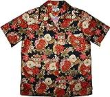 レディース 和柄アロハシャツ wd-009b 黒地に赤い花柄