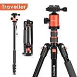 Geekoto Tripod, Camera Tripod for DSLR, 58'' Extremely Lightweight and Ultra Compact Aluminum Tripod with 360° Panorama Ball Head, Ideal for Travel and Work(AT24 Traveller) (Tamaño: Traveller)