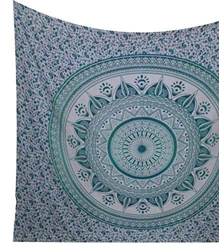 Kesrie Mandala lotus green printed hippie tapestry wall hanging indian lotus print
