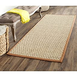 Safavieh Natural Fiber Collection NF114B Natural and Brown Seagrass Runner, 2 feet 6 inches by 6 feet (2\'6\