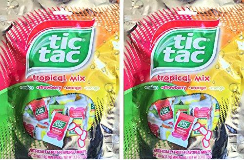 Tic Tac Tropical Mix Melon, Strawberry, Orange, Mango, Mini Packs Net Wt 3.3 Oz (2) (Tic Tac Mini Packages compare prices)