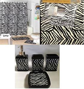 Complete Bath Accessory Set Black White Zebra