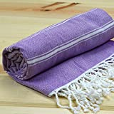 Turkish Pestemals Peshtemals Thin Large Quick Dry Luxury Eco Bath Hamam Spa Sauna Beach Gym Yoga Sarong Bathrobe Fouta Towel 100% Cotton 68 X 40 Inches (Pastel Purple)