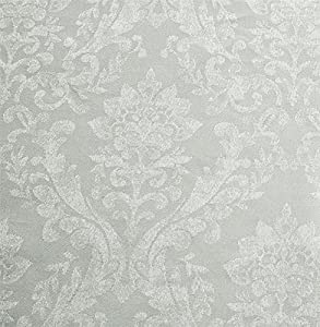 "Woven Damask Lined Silver Blue White 90"" X 90"" - 229cm X 229cm Pencil Pleat Curtains from Curtains"