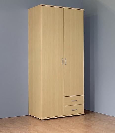 Kleiderschrank 2-turig mit 2 Schubladen Buche Dekor
