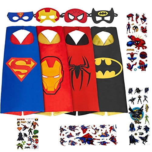Spess Superhero Costumes Toddlers Cape and Mask for Kids with Stickers and Tattoo