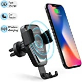 Wireless Car Charger Phone Mount, 2 in 1 Car Air Vent & Dashboard Universal Phone Holder 10W Fast Charging Compatible with iPhone 8/8 Plus/X/XS/XR/XS MAX,Samsung Galaxy and All QI-Enabled Smartphone (Color: black-02)