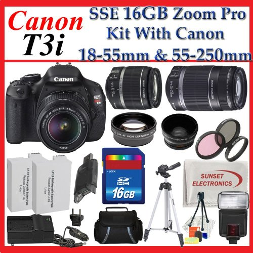 Canon EOS Rebel T3i SLR Digital Camera Kit with Canon 18-55mm Lens + Canon 55-250mm Is Lens + Huge Accessories Package