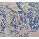 Tissu de coton imprimé | Toile de Jouy (Bleu) | Largeur: 140cm (1 mètre)