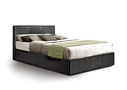 Stauraum Polsterbett in Kunstleder leather-parent, Textil, schwarz, Zweifach (135 x 190 cm)