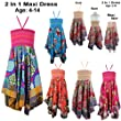 New Girls Kids Tween Trendy Handkerchief 3/4 Maxi Skirt Floral Summer Dresses AGE 4-14 Years (10, Green)