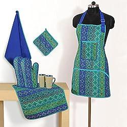 Cotton Lady's Kitchen Fashion Women's Apron Pot Holder Mittens Napkin Set by Swayam