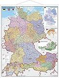 Deutschland-Österreich-Schweiz Postleitzahlen- und Organisationskarte mit Metallbeleistung
