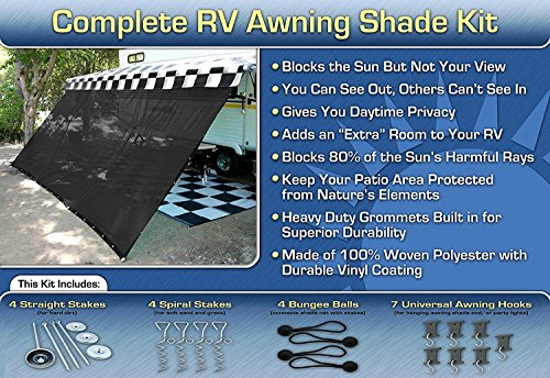 RV Awning Shade Complete Kit 8'x20' (Black) (Awnings For Campers compare prices)