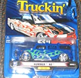 1 Badd Ride Truckin Blue Hummer H2 with Flames 1:64 Scale Die Cast Truck Car