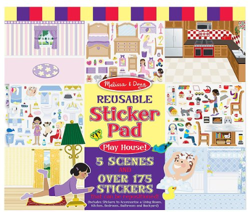 Melissa and Doug Reusable Sticker Pads- Habitats, Vehicles, and Play House