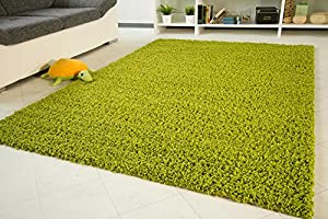 "Shaggy Rug Funny Lime Green - Soft Non-Shedding High Pile Modern Carpet - Size 200x200 cm (6'6""x6'6"") by Steffensmeier"