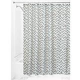 InterDesign Chevron Shower Curtain, 72 x 72-Inch, Taupe/Mint