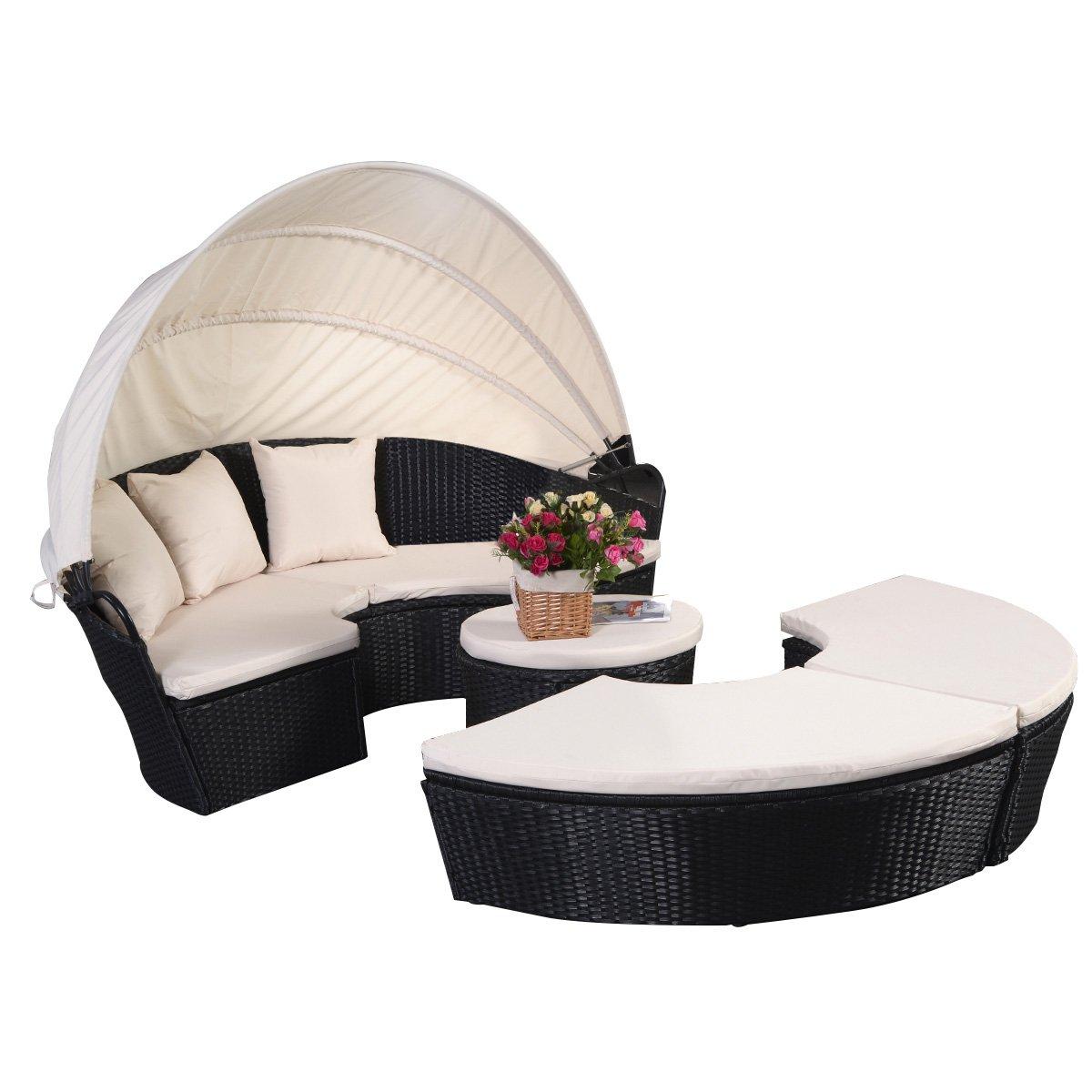 Sonneninsel Sonnenliege Strandkorb Polyrattenliege Rattan Lounge Rattenbett Gartenliege GartenmöbelSitzgarnitur mit Sitzauflage Sonnendach jetzt bestellen