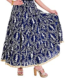 Ceil Women's Cotton Skirt (Navy Blue)
