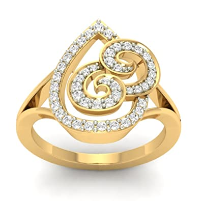 18K Yellow Gold 0.29cttw Round-Cut-Diamond (F-G Color, VS Clarity) Diamond Ring