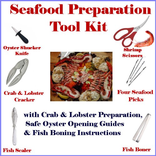 Seafood Lovers Tool Kit consisting of a Lobster & Crab Claw Cracker, Seafood Picks, Fish Scaler, Fish Boner, Shrimp Scissors and Oyster Shucker Knife. Crab Lobster & Oyster preparation instructions and Deboning Guide included.