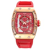Fly freely SKONE/Space-time Men's Outdoor Sports Watch Waterproof Quartz Watch high-end Men's AliExpress Skull Table,red (Color: red, Tamaño: One size)