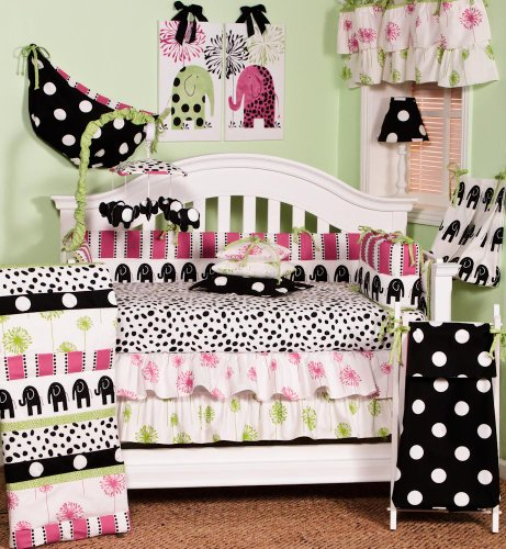 Cotton Tale Designs Hottsie Dottsie Set, Green/Black/Pink, 7 Piece