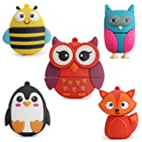 LEIZHAN 5x32GB USB Flash Drive with Chain Cute Animals Owl Penguin Bee Fox Computer Memory Stick USB 2.0 for Students (Color: 5xAnimals, Tamaño: 32GB)