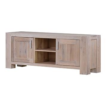 TV-Lowboard TV-Bank Braxton, Massivholz Holz Eiche massiv weiß gekälkt, Breite 170 cm, Tiefe 47 cm, Höhe 64 cm