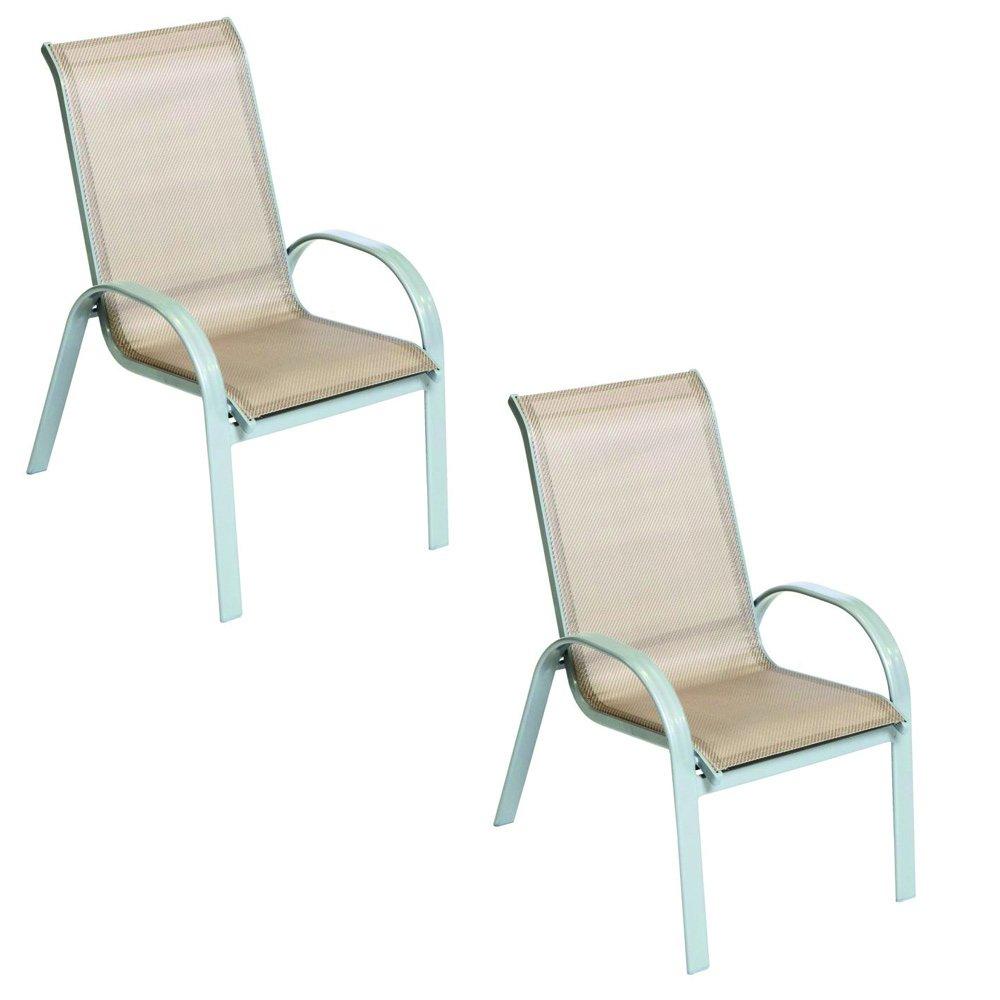 Sessel Gartenstuhl Stapelsessel Amalfi 2-er Set mit Textilgewebe Bespannung in champagner günstig kaufen