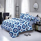 Dexim Printed Poly Satin 4 Piece Bedding Set With Reversible Duvet Cover (Blue/White)