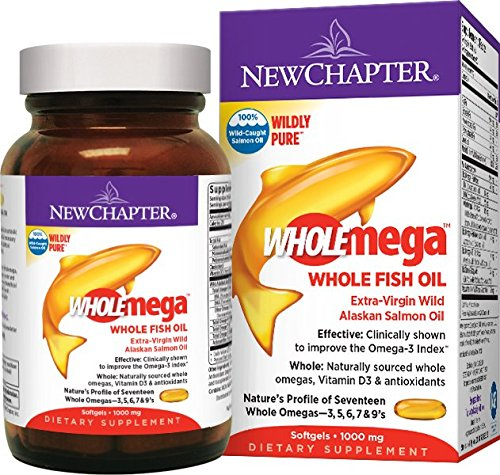 New Chapter Wholemega Fish Oil Supplement, 100% Wild Alaskan Salmon Oil with Omega-3 + Vitamin D3 + Astaxanthin - 120 ct