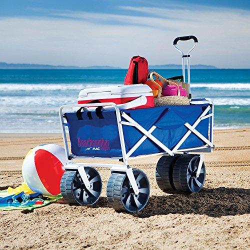 Folding Beach Wagon All Terrain Blue Collapsible Kart Foldable Sports Dolly Gear Storage Mac Cart With Cooling Towel (Beach Wagon With Big Wheels compare prices)
